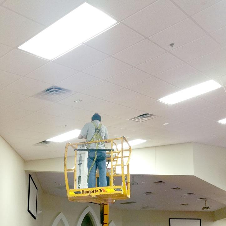 Lighting repair lighting maintenance services church building light maintenance mozeypictures Choice Image